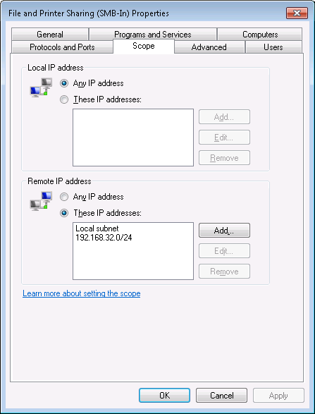 Win7 file sharing inbound rules firewall