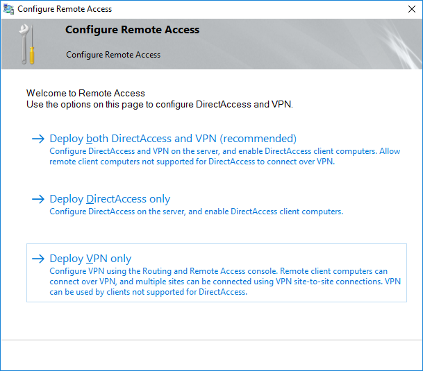Setup Remote Access role (DirectAccess and VPN) on Server 2012 – Console
