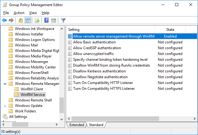 Setup Group Policy Objects (GPOs) for remote management – Console