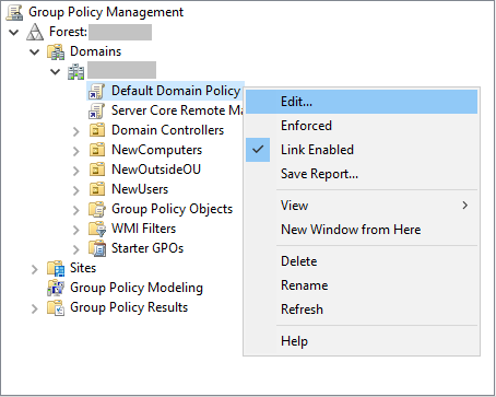 My Default Domain Policy (GPOs) – Console