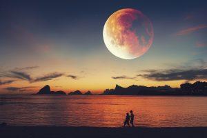 fantasy, sunset, lake